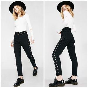 ONE X ONETEASPOON Black Raw Hem Mom Jeans